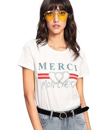 667306c46ae SheIn Women's Cute Pattern Print Round Neck Short Sleeve T-Shirt Top