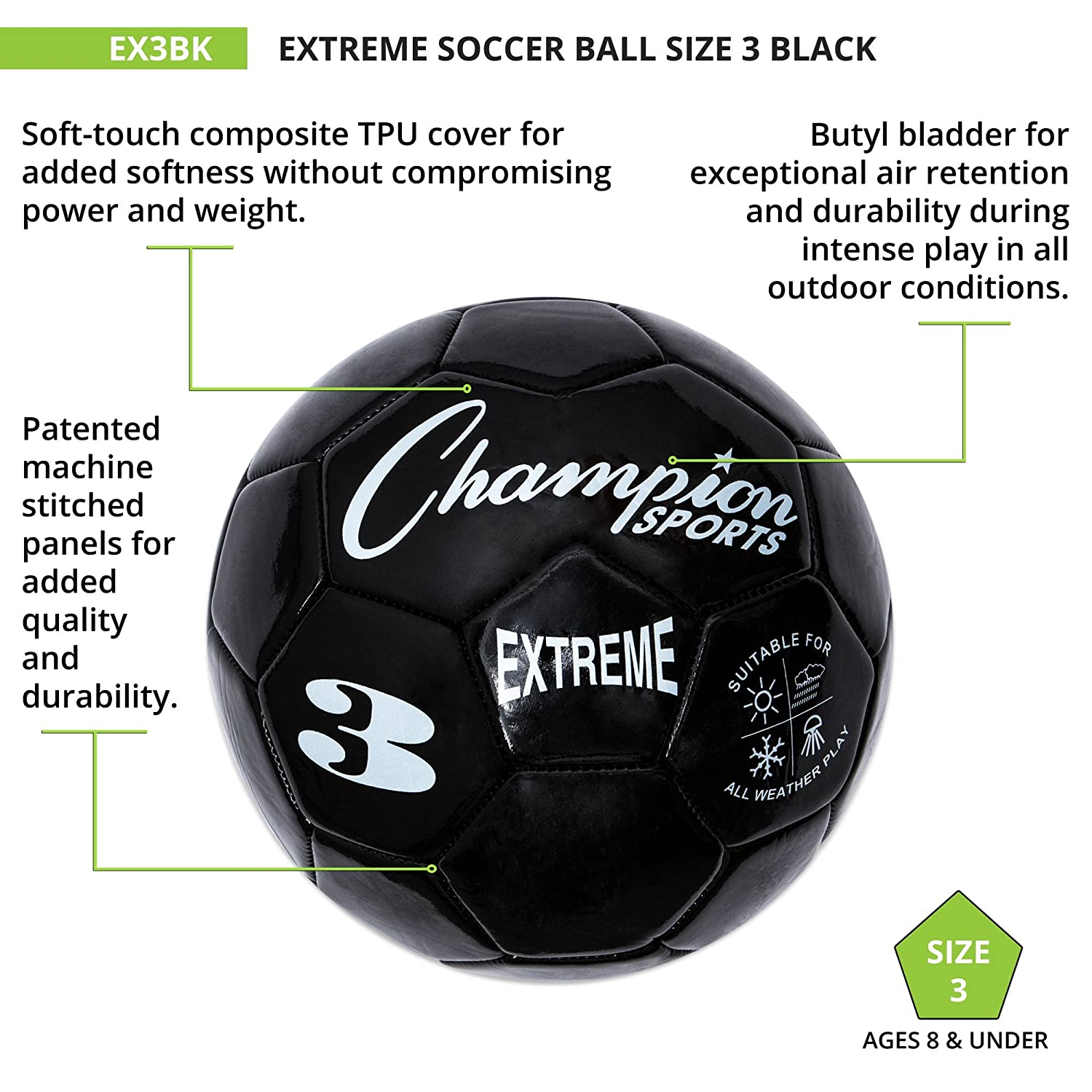Amazoncom Champion Sports Extreme Series Soccer Ball Size 3