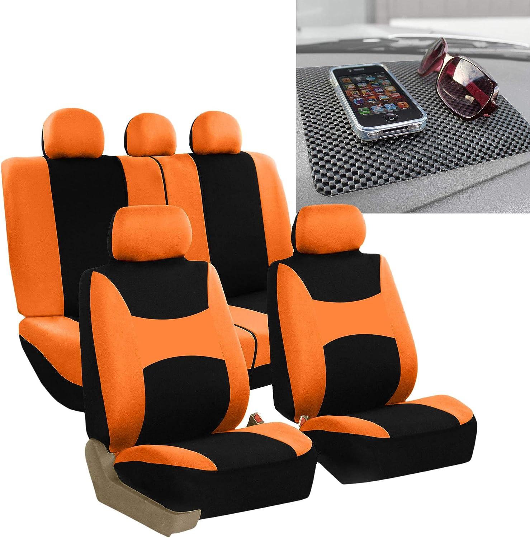 FH Group FB030115 Light & Breezy Cloth Seat Cover Set Airbag & Split Ready, Orange/Black FH1002 Non-Slip Dash Grip Pad- Fit Most Car, Truck, SUV, or Van