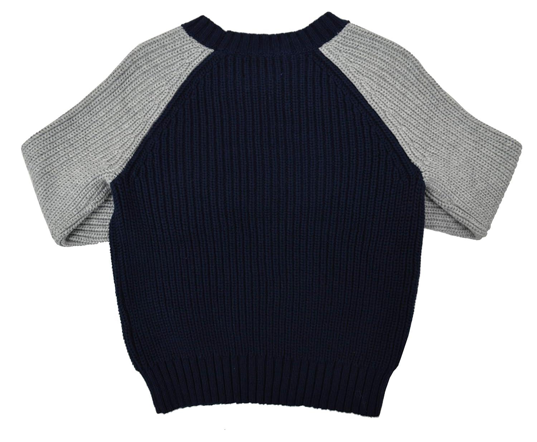 Polo Ralph Lauren Boys Two Tone Knit Crewneck Sweater Navy Blue Gray