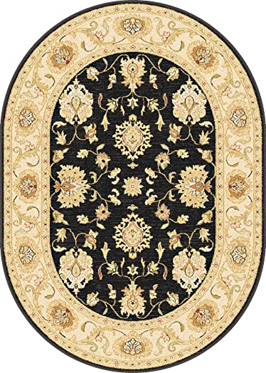 Antique Treasure Traditional Classic Keshan Black Center Ivory Border Oval Area Rug 5 3 x7 3