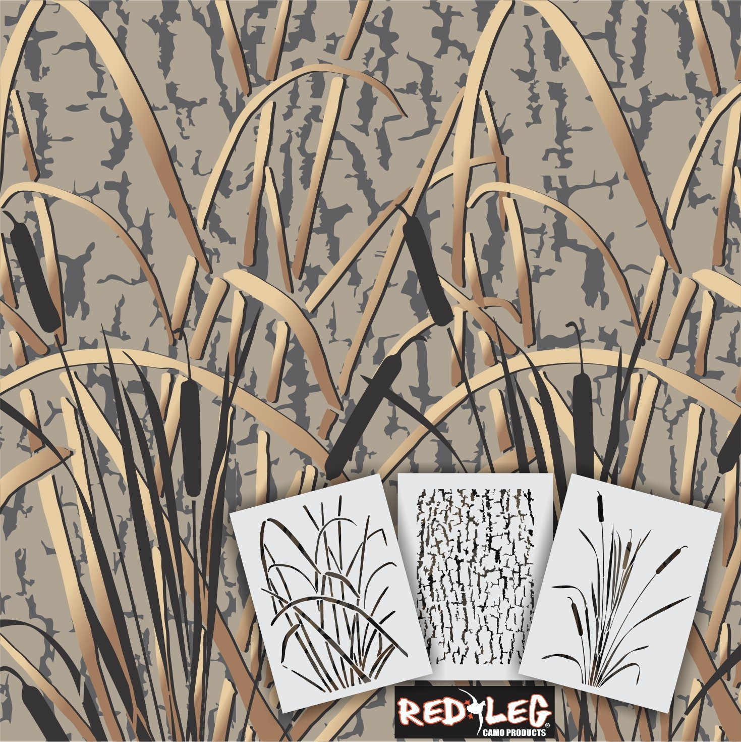"Redleg Camo GK 3 Piece 14"" Grass Wetland Duck Camouflage Stencil kit"