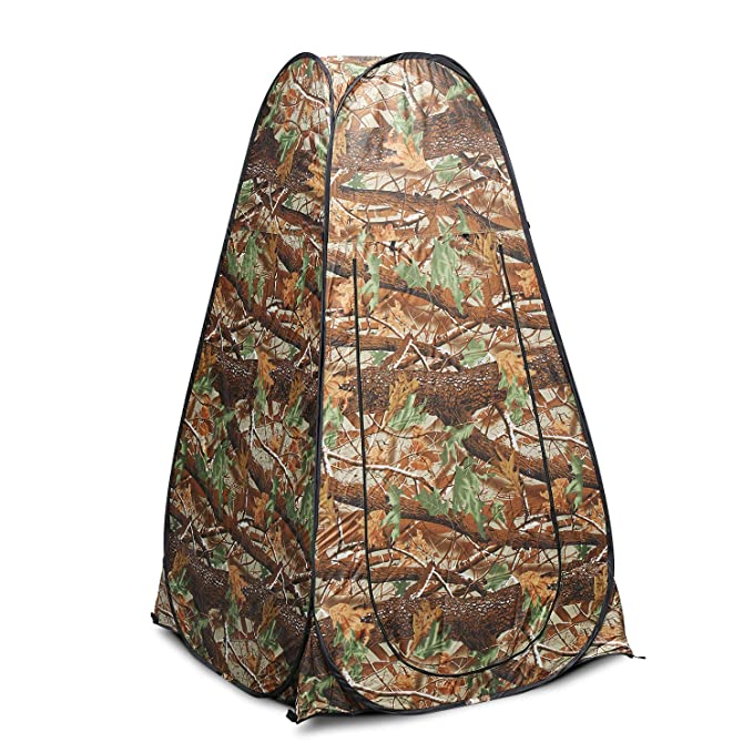 Flexzion Pop Up Dressing Tent, Portable Shower Fitting Changing Room for Indoor Outdoor Privacy Photo Studio Camping Hiking Beach Park Mountain Area with Carrying Bag, Camouflage
