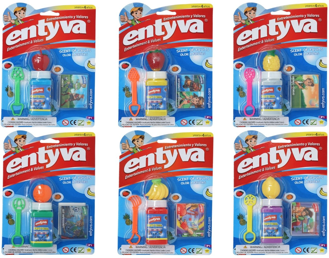 Entyva Fruit Scented Bubbles 6 Pack Bubble Wand and Solution Randomly Assorted