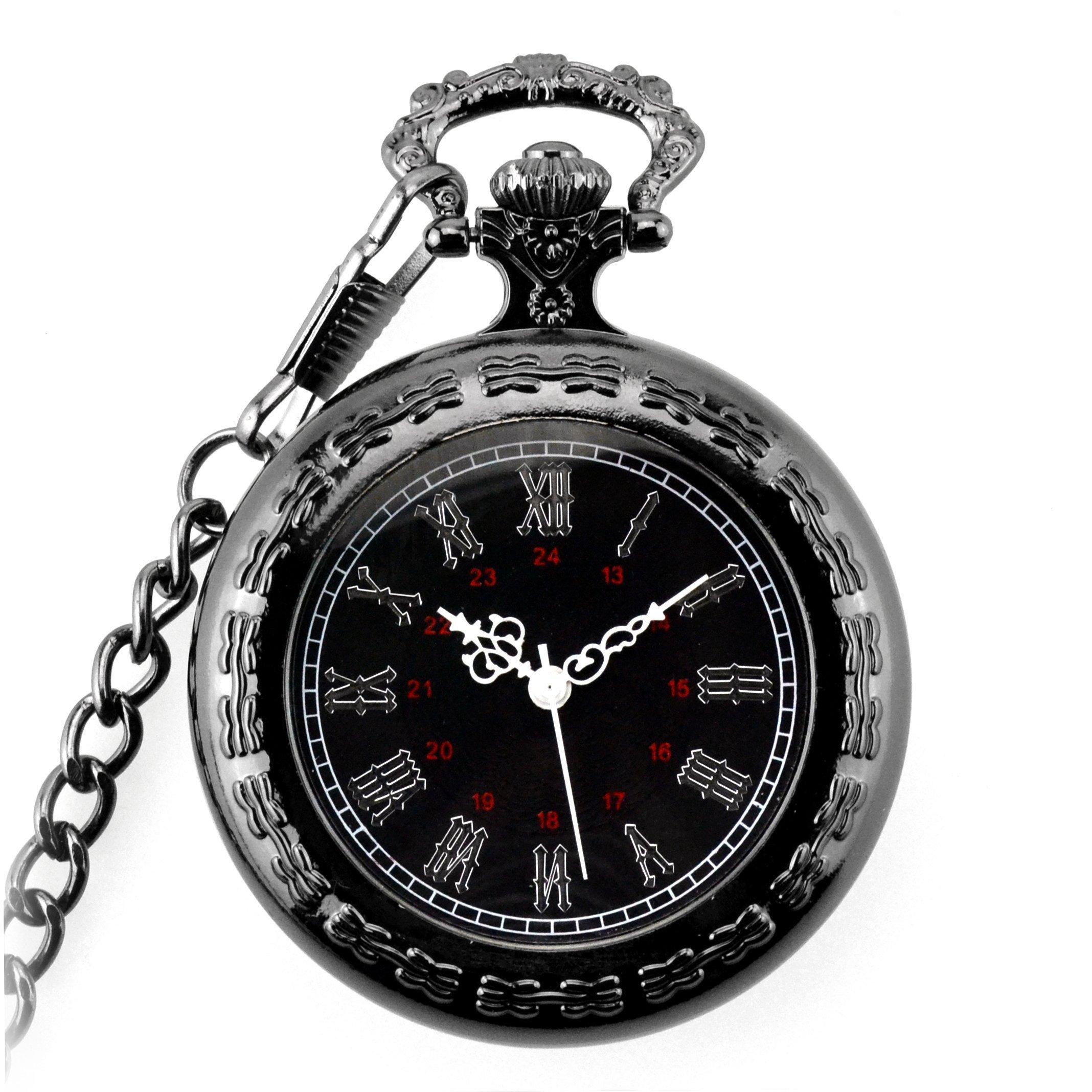 Powshop Vintage Roman Numerals Pocket Watch Steampunk Retro Vintage Black Quartz Watches with 14.8''Chain & Gift Box for Men (Black)
