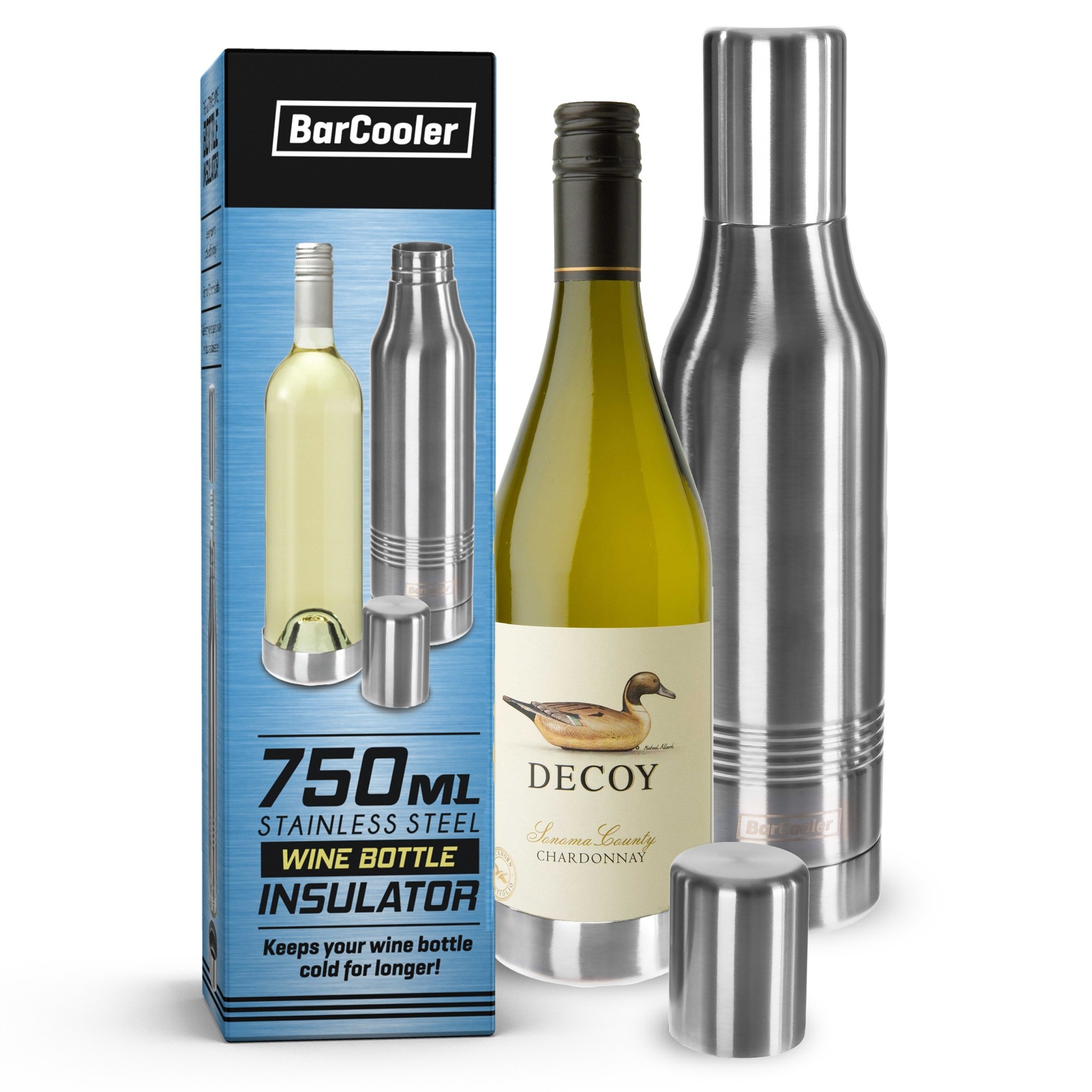 BarCooler Stainless Steel Wine Bottle Holder Double Wall Stainless Steel Cooler Keeps Your Wine Cold. Great Gift For Wine Lovers ! Fits Most Wine Bottles. Includes free E-Book + Gift Box.