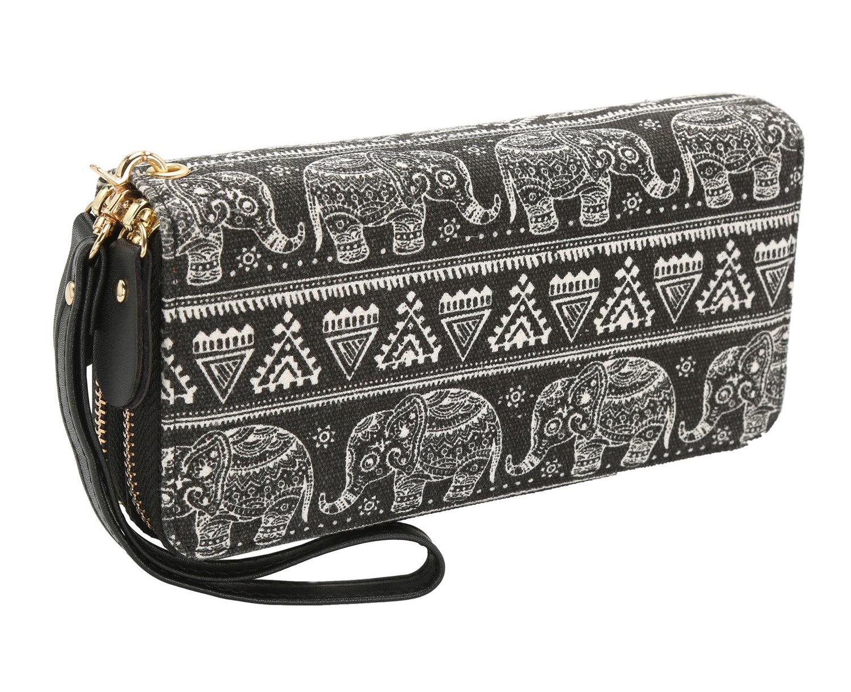 Bohemian Purse Wallet Canvas Elephant Pattern Handbag with Coin Pocket and Strap (Large, Black Elephant)