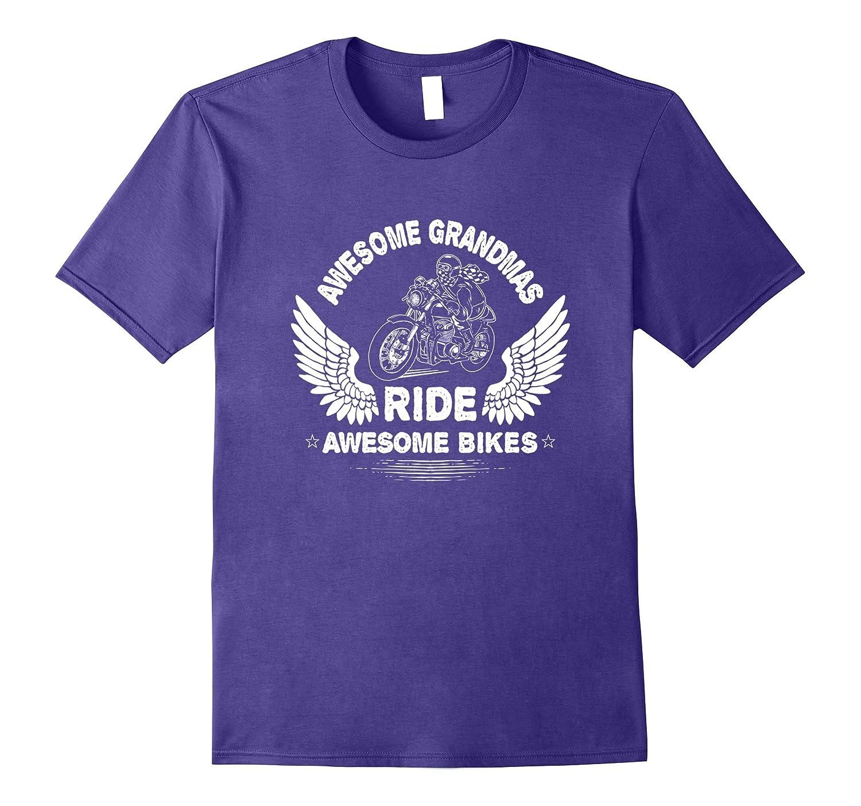 Retro Biker Grandma Rides Awesome Bike Motorcycle T-Shirt-Vaci