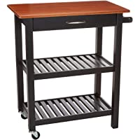 Amazon Basics Kitchen Island Cart with Storage, Solid Wood Top and Wheels - Cherry / Black