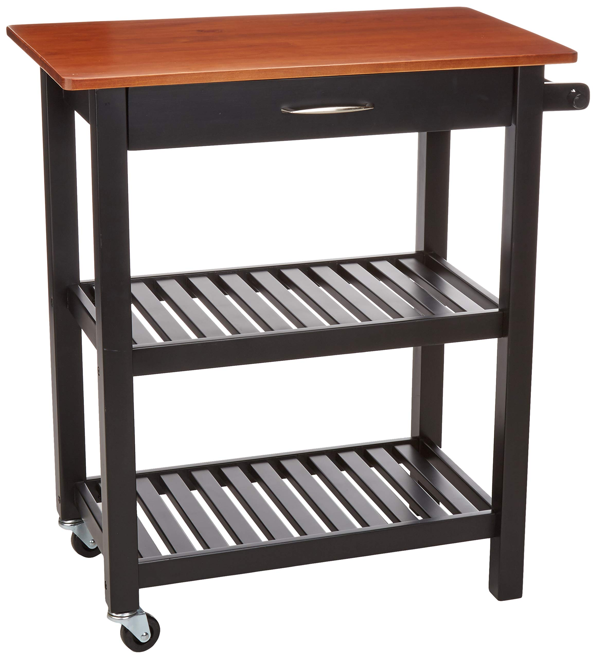 AmazonBasics Multifunction Rolling Kitchen Cart Island with Open Shelves - Cherry and Black