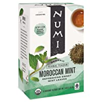 Numi Organic Tea Moroccan Mint, Tea Bags, Herbal Teasan, 18 Count, Pack of 3
