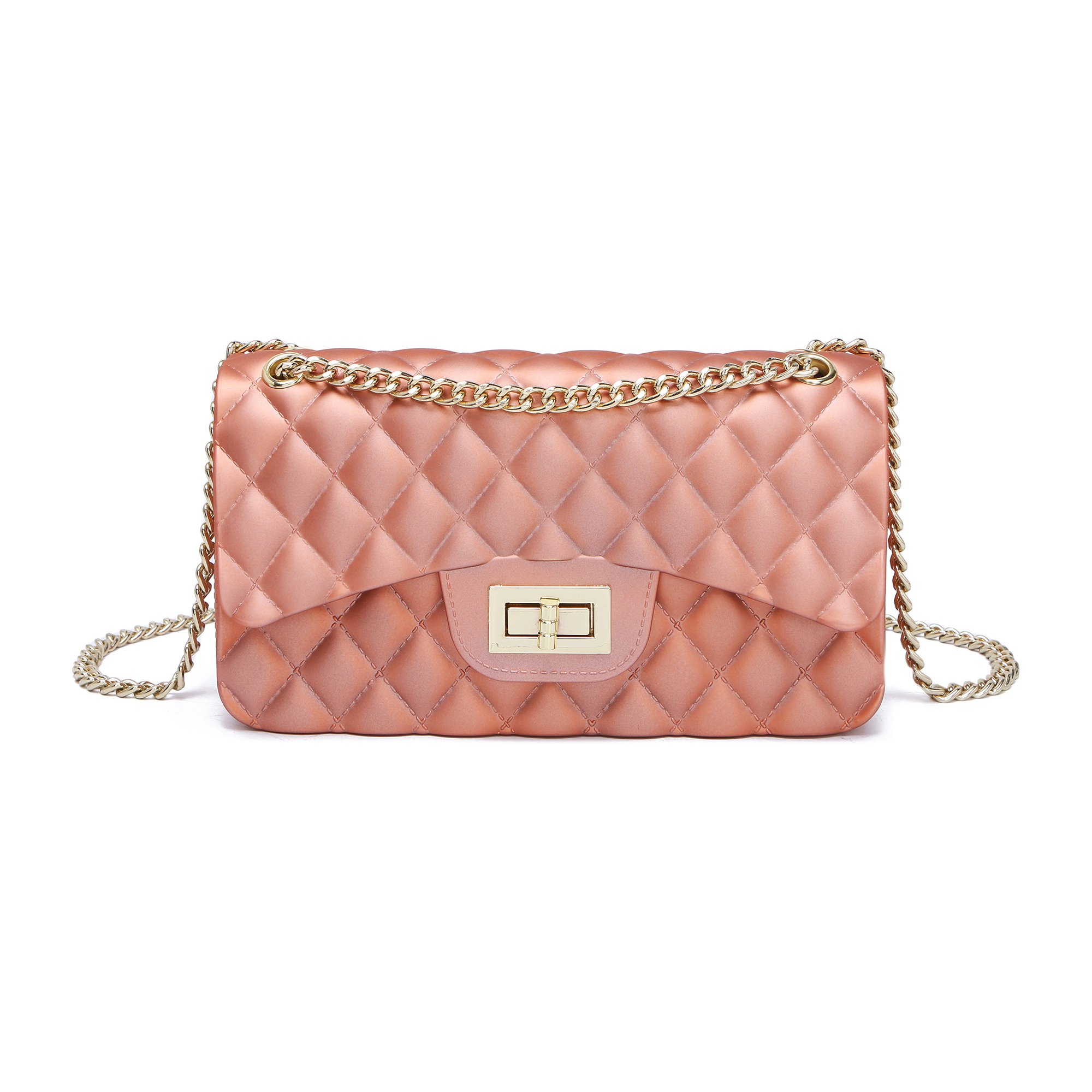 Women Shoulder Bag Jelly Clutch Handbag Quilted Crossbody Bag with Chain (Pink S)
