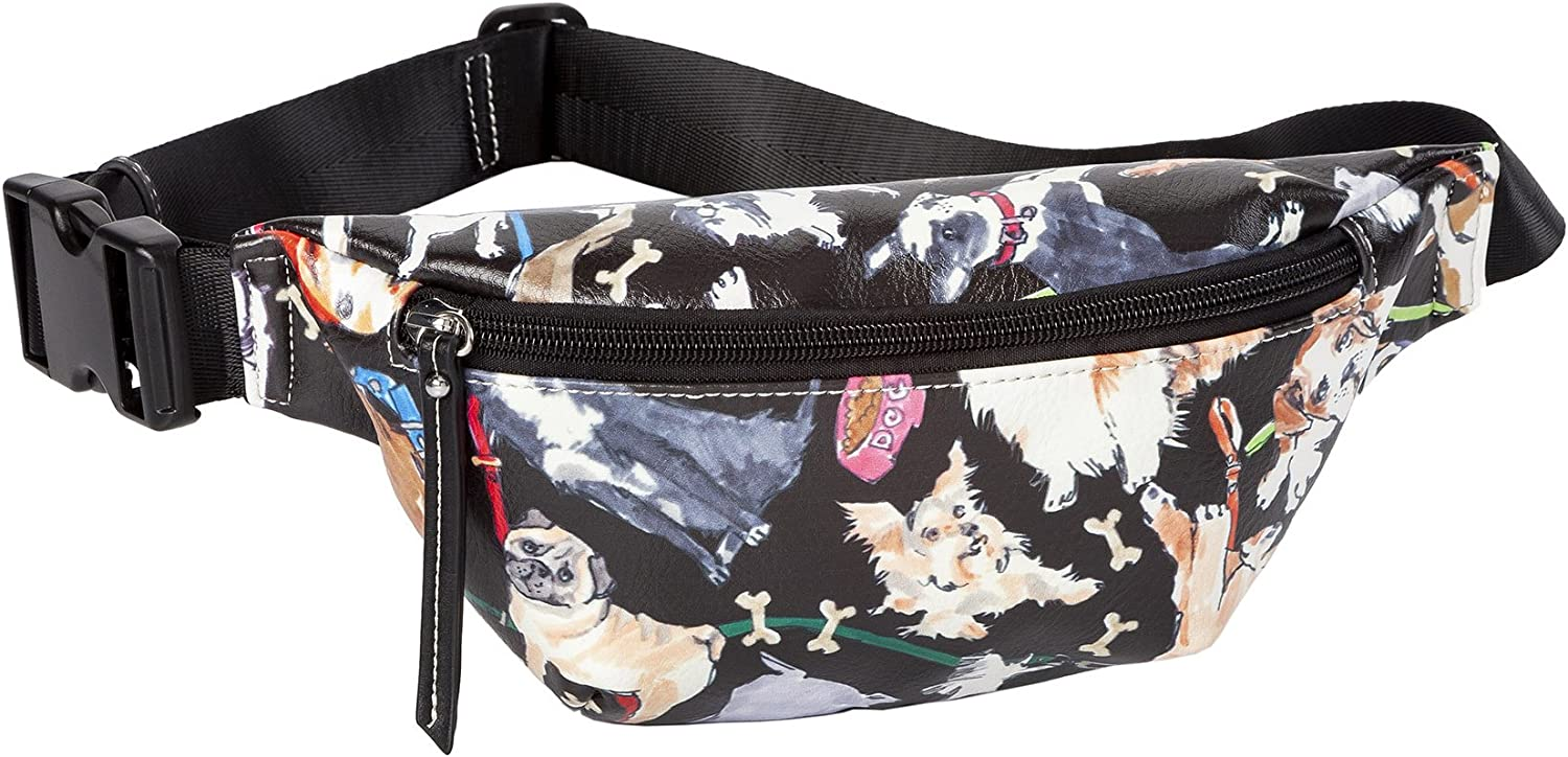 Sydney Love Dog Print Waist Fanny Pack Bum Belt Bag, Black Multi