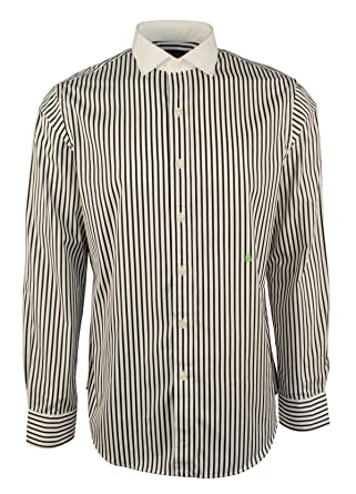 46da63abe00 Polo Ralph Lauren Men s Striped Broadcloth Shirt Medium White Black ...