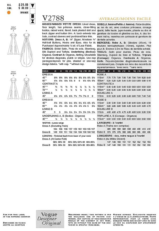 Vogue 2788 - Patrón de costura para vestido de novia: Amazon.es