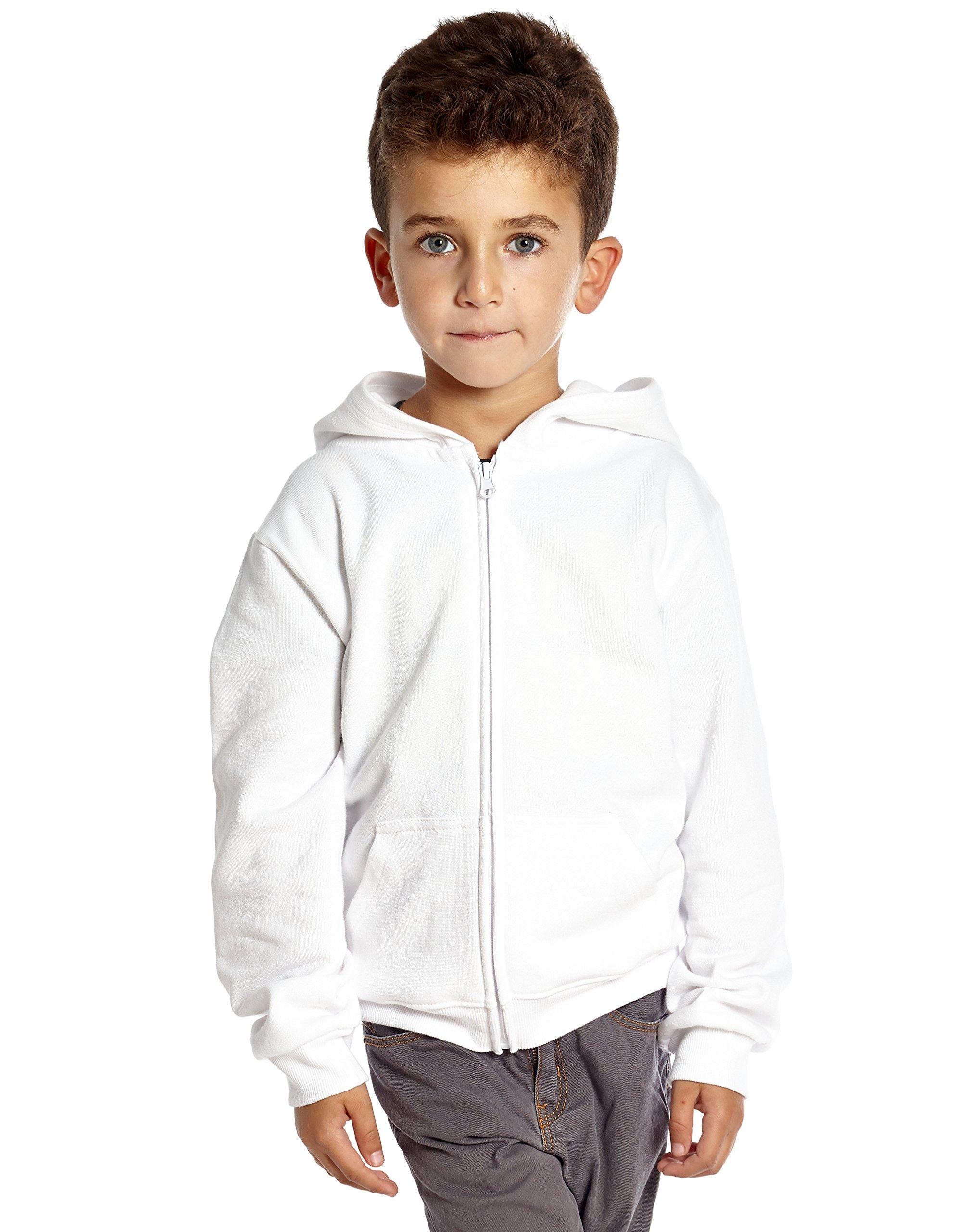 Leveret Kids Cotton Hoodie (12 Years, White)