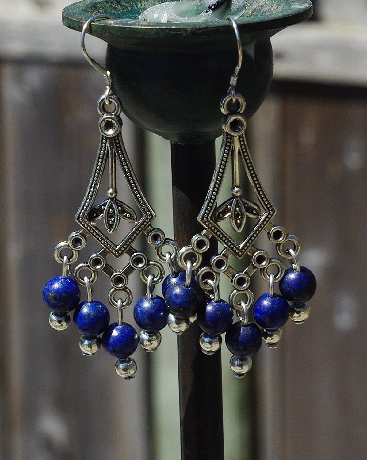 Lapis Lazuli Stones Chandelier Earrings