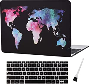 MacBook 12 Inch Plastic Hard Shell Case & A1534 Silicon Keyboard Cover A1534 MacBook Air 12 Inch Case Cover World Map Anti-dust Brush (Newest Version 2017/2016/2015) (Map Pattern-Black)