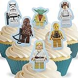 Lot de 12 silhouettes assorties avec onglet Lego Star Wars Comestibles PRÉ-DÉCOUPÉES par Cakeshop