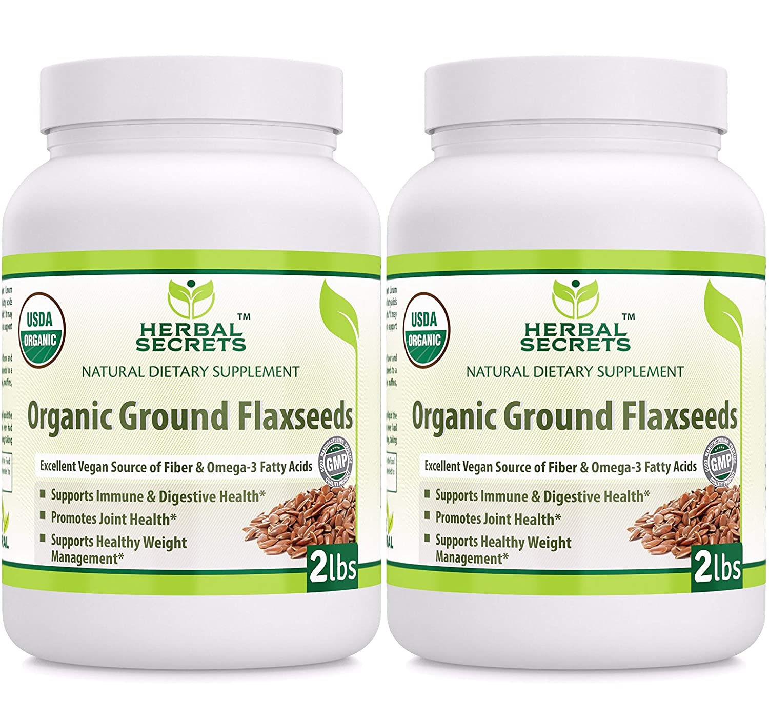 Herbal Secrets Organic Ground Flaxseed 4 Lbs Excellent Vegan Source of Fiber Omega – Fatty Acids USDA Certified Organic- Promotes Joint Health Supports Healthy Weight Management