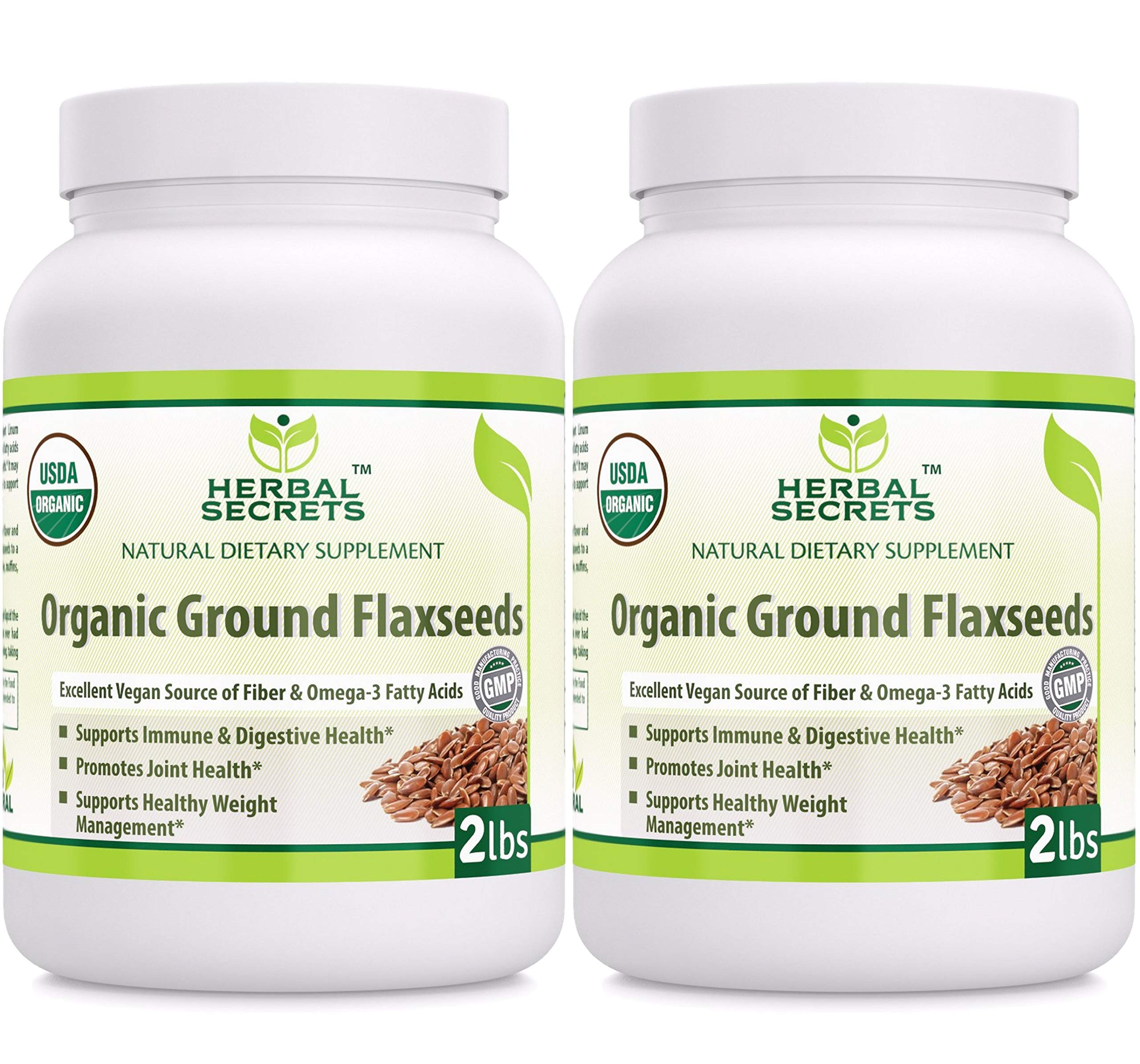 Herbal Secrets Organic Ground Flaxseed 4 Lbs Excellent Vegan Source of Fiber & Omega - Fatty Acids USDA Certified Organic- Promotes Joint Health Supports Healthy Weight Management