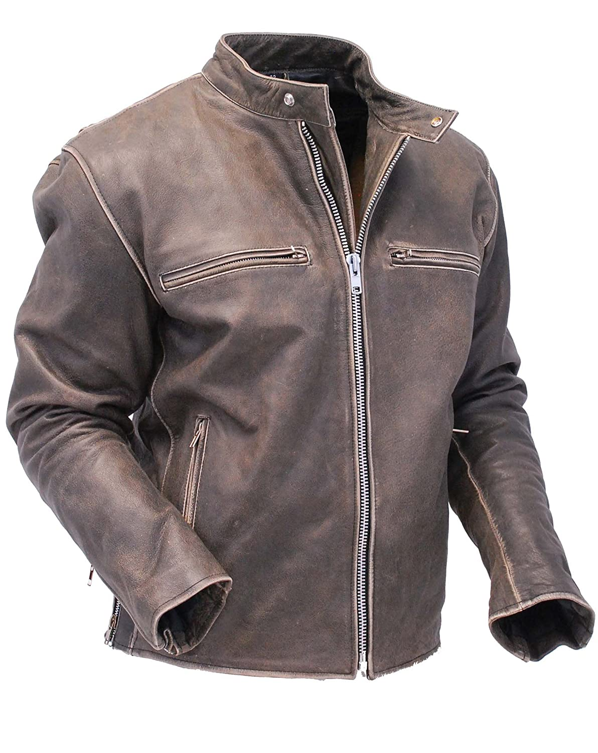 Jamin' Leather Vintage Brown Rebel Rider Leather Motorcycle Jacket  #MA11026ZDN at Amazon Men's Clothing store: