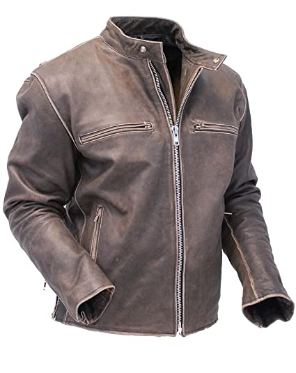 bfecd8491 Jamin' Leather Vintage Brown Rebel Rider Leather Motorcycle Jacket  #MA11026ZDN