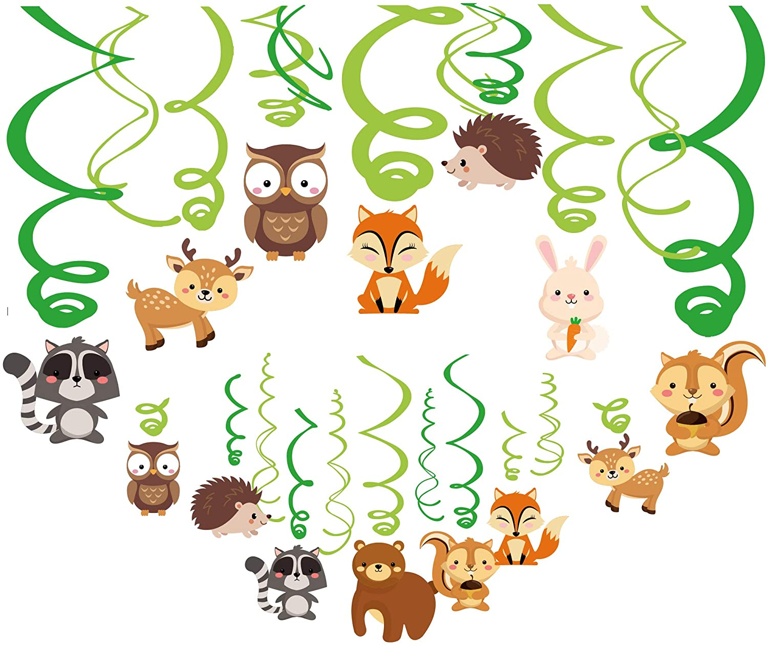 Anor Wishlife 30Ct Woodland Animals Decorations,Forest Animal Decorations,Fox Hanging Swirl Ceiling Streamers Decorations for Girls,Boys,Kids Home,Classroom,Baby Shower,Office