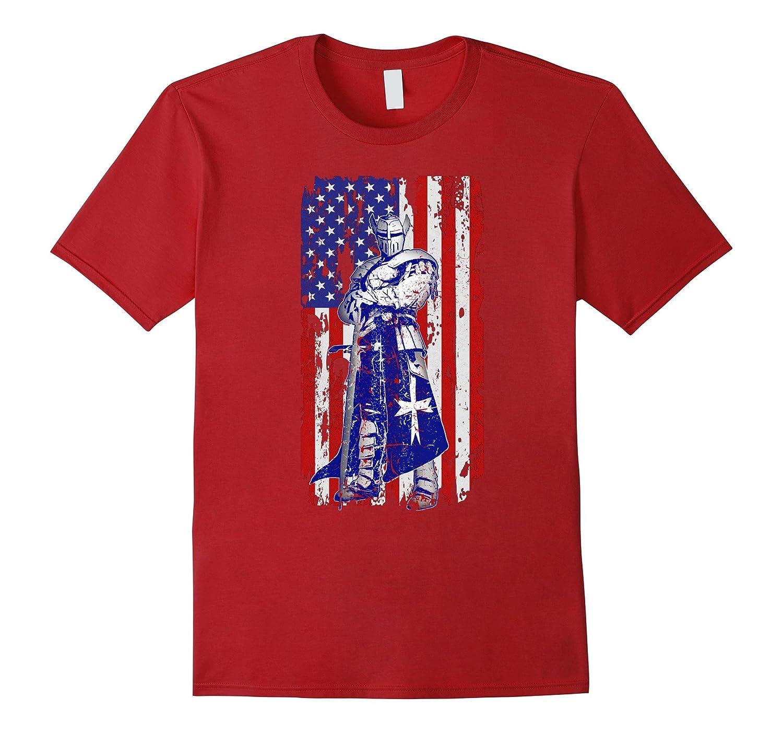 Patriotic gifts for men Veteran crusader flag design shirt-RT