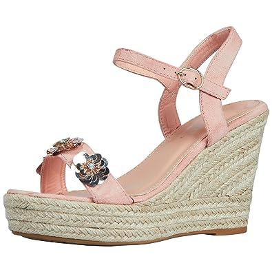 9178480d8 ByPublicDemand Coleen Womens High Wedge Heel Sequin Flo Light Pink Faux  Suede 5 UK/38