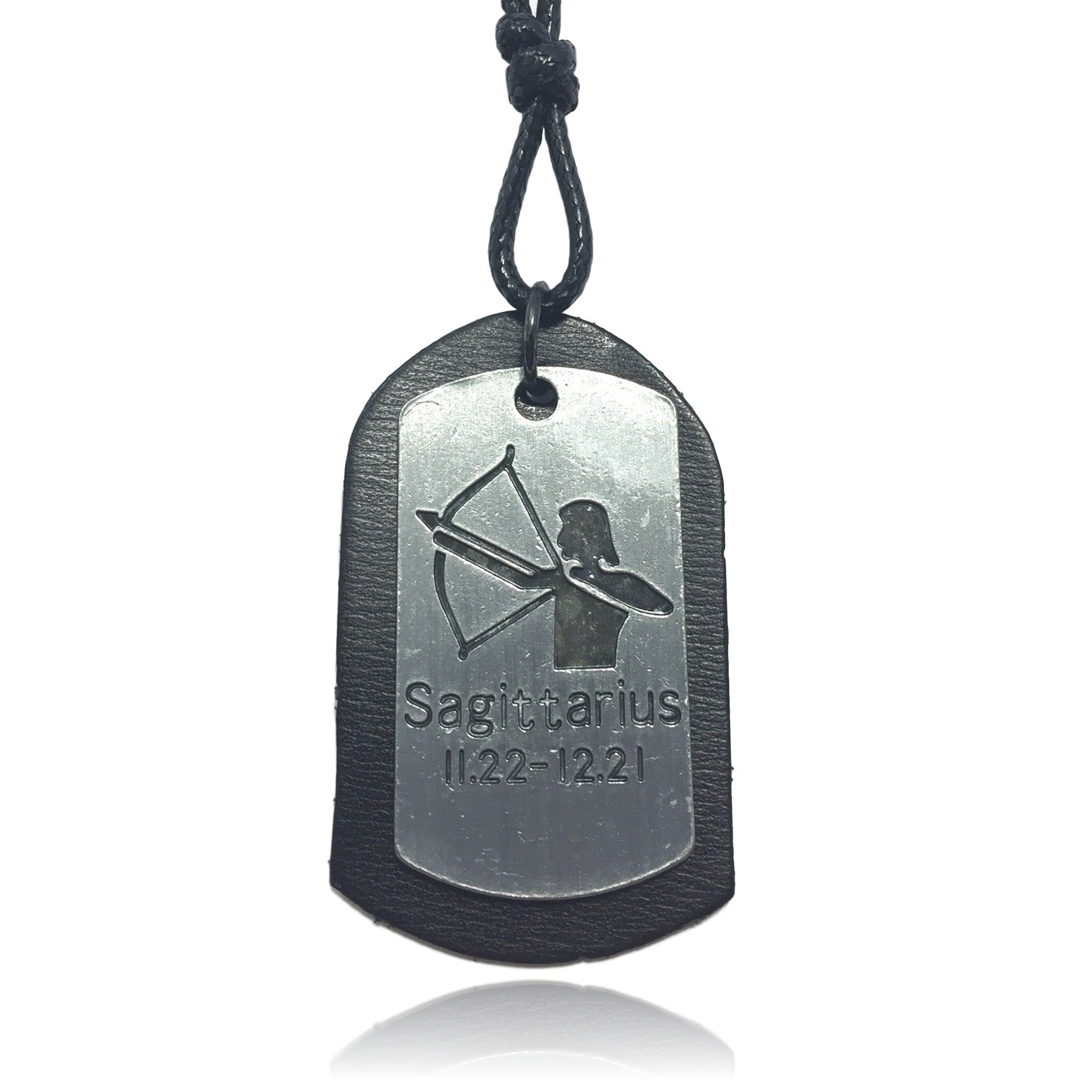 Black Zodiac Dog Tag Necklace: COS (TM) Zodiac Dog Tag Sign