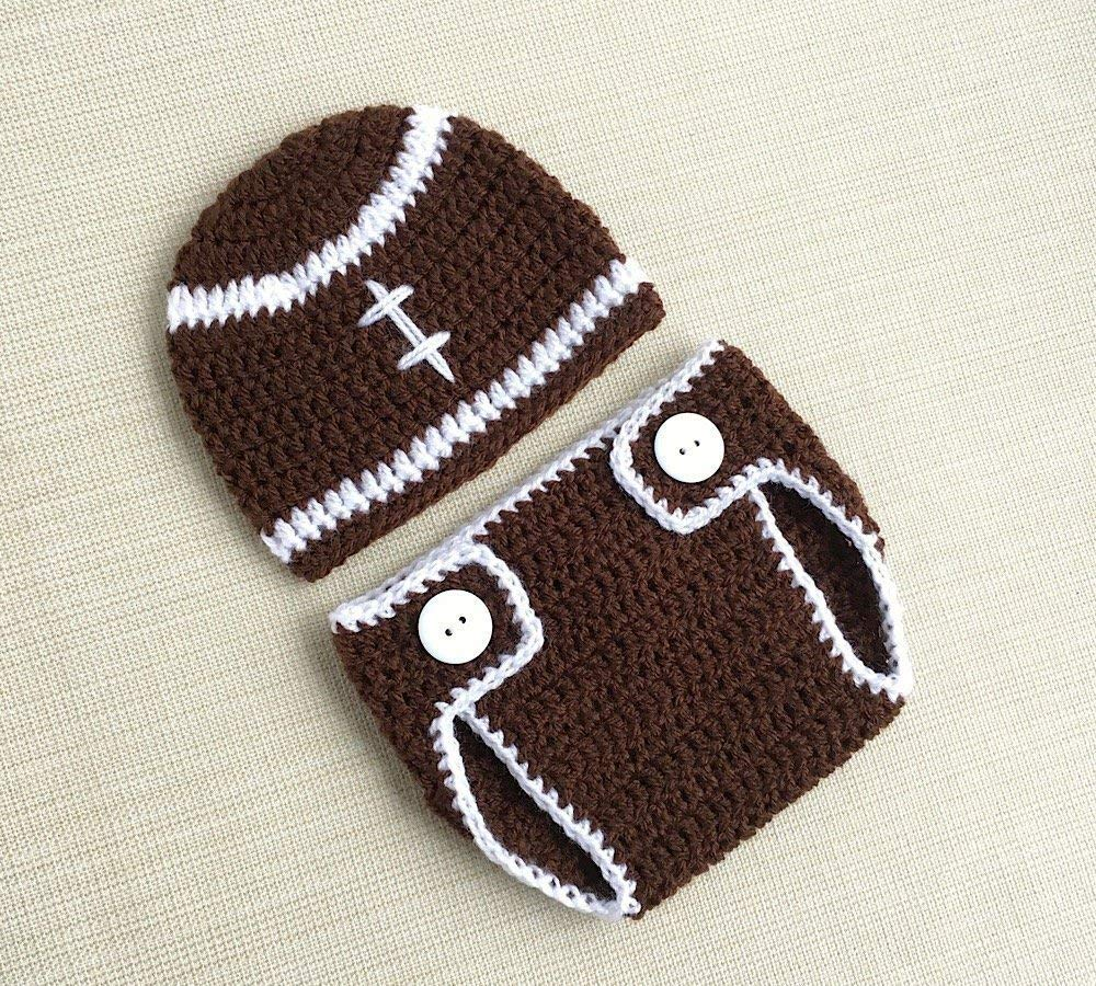 Amazon Com Newborn Boy Crochet Outfits Football Inspired Baby Costume Infant Photo Prop Hat And Diaper Cover Handmade