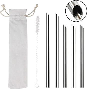 Argent Acier Inoxydable Extra Large 12 mm Réutilisable Pailles pour Smoothies
