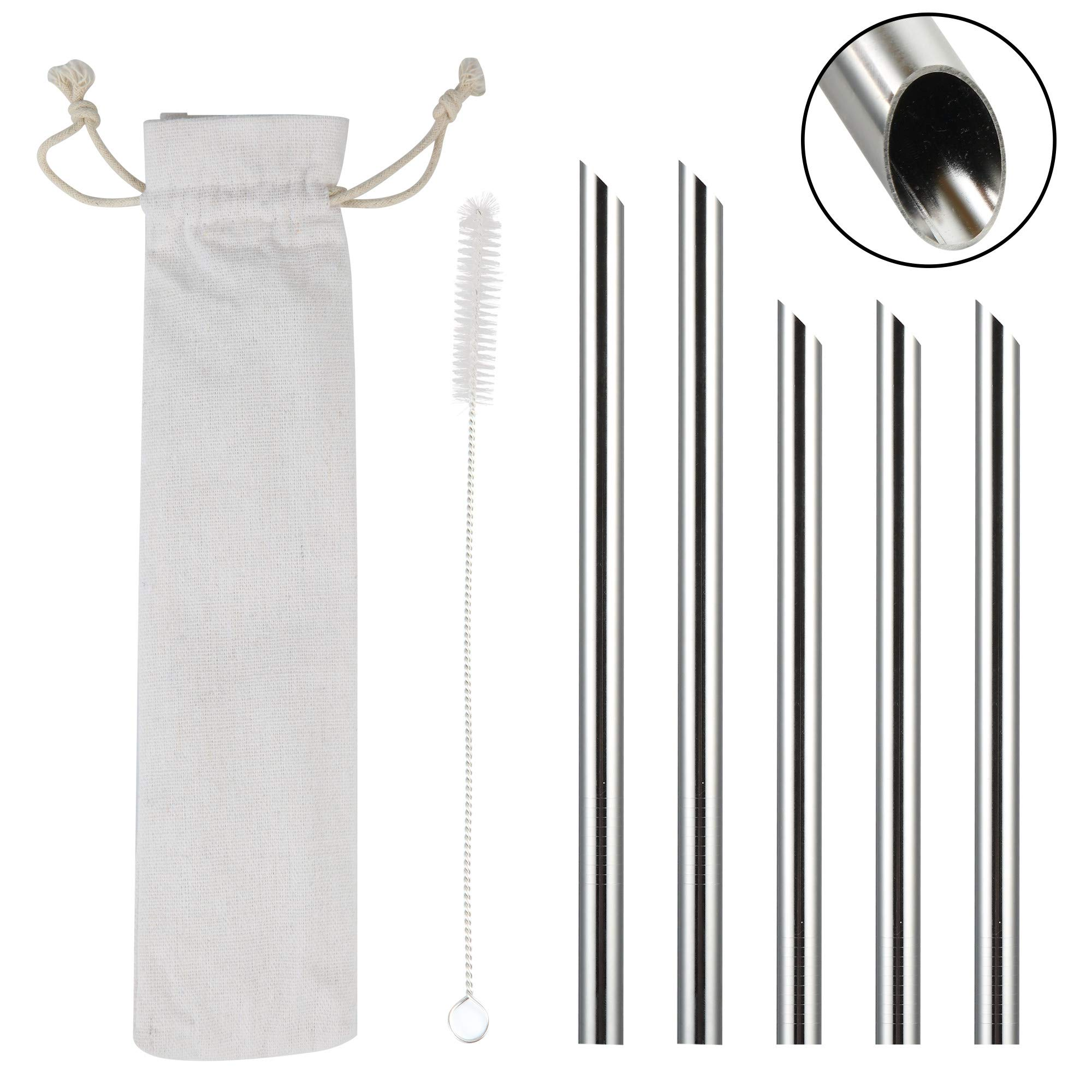 Eco Friendly Reusable Straw Set 2X Wide Smoothie 2X /& Stainless Steel Straws