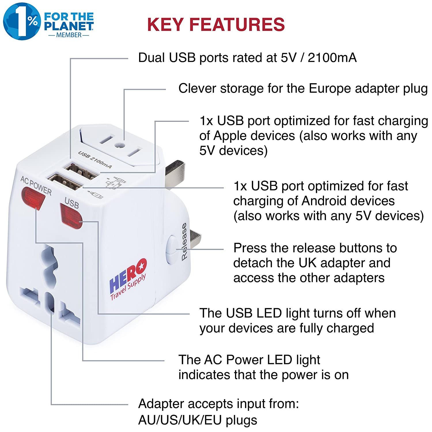 Amazon Universal Travel Adapter 2 Usb Ports Power Plug For