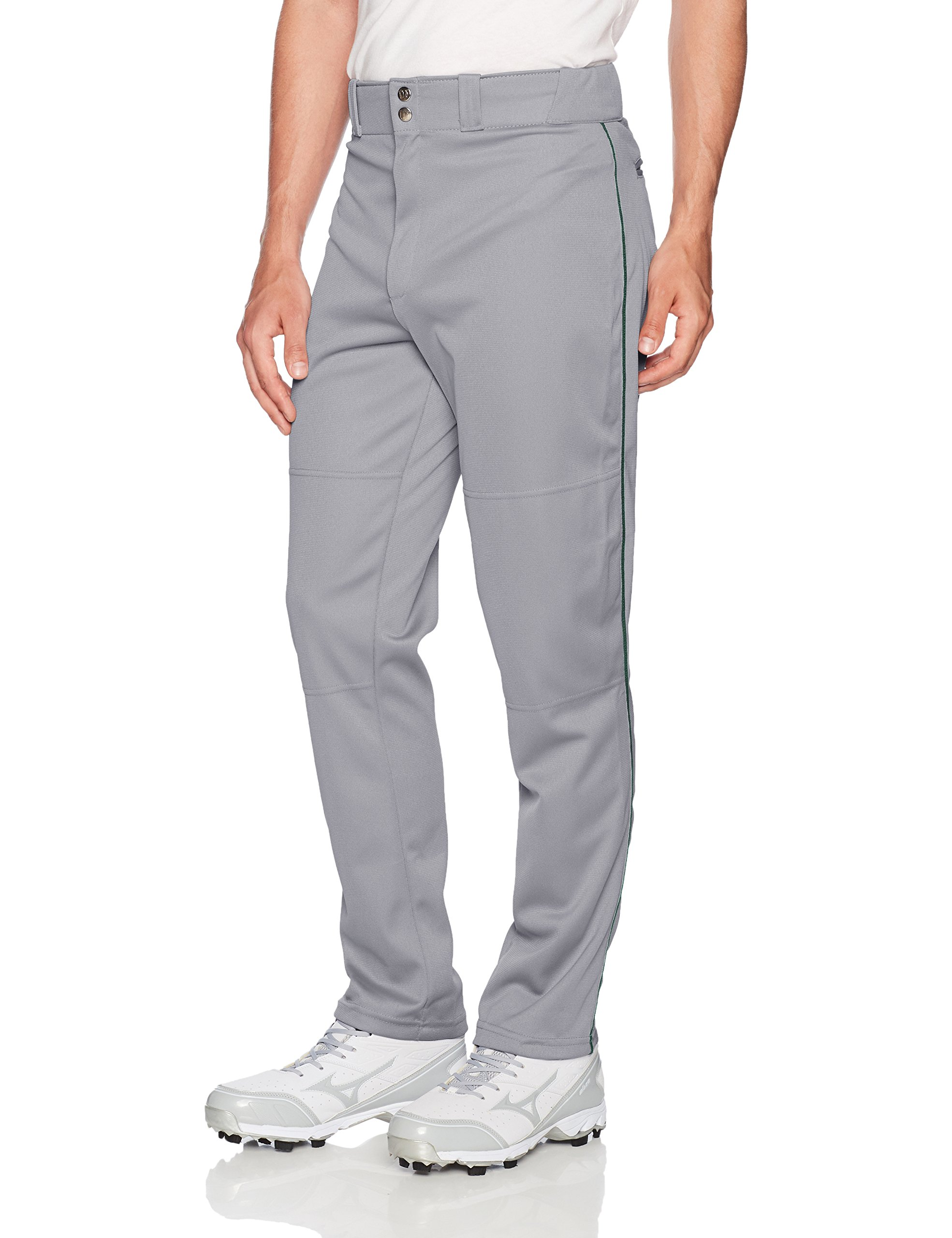 Wilson Men's Classic Relaxed Fit Piped Baseball Pant, Grey/Dark Green, Medium by Wilson