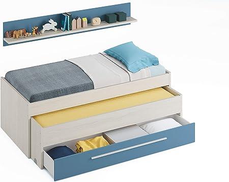 Miroytengo Cama Nido con Estante Pared y Dos somieres 90x190 y 90x180 Azul y Blanco Alpes Dormitorio Juvenil