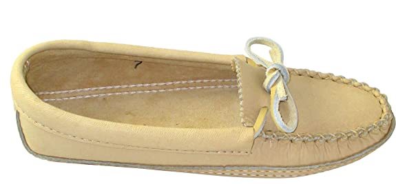 Amazon.com | Bastien Industries Womens Moose Hide Leather Moccasins Tan | Shoes