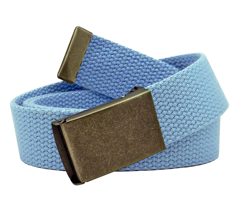 Boys School Uniform Distressed Gold Flip Top Buckle with Adjustable Canvas Web Belt
