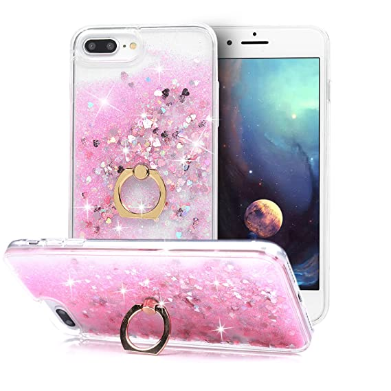 newest 920cf 5337e iPhone 8 Plus Case, iPhone 7 Plus Case, Glitter Cute Phone Case Girls with  Kickstand Ring Stand Girly Flowing Liquid Floating Bling Quicksand Sparkle  ...