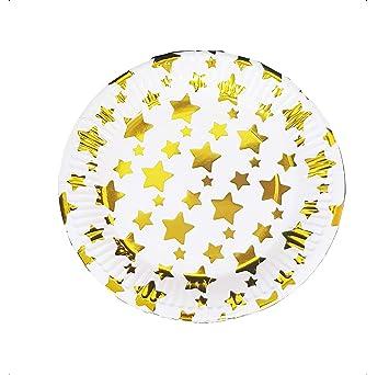takestop Juego 48 Piezas Platos Plato Papel 18 cm Estrellas ...