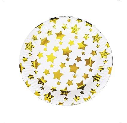 takestop Juego 24 Piezas Platos Plato Papel 18 cm Estrellas ...