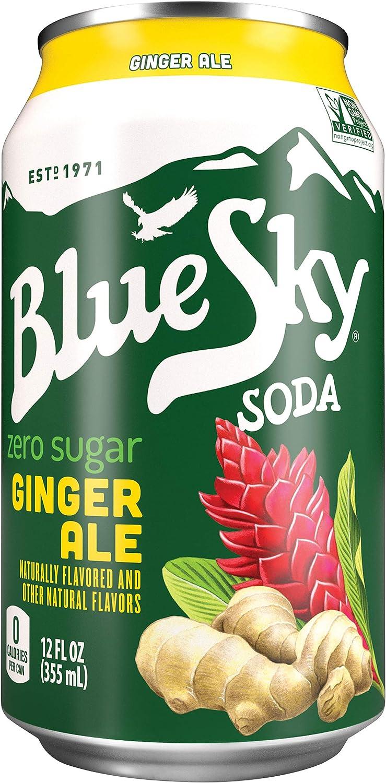Blue Sky Zero Ginger Ale Diet Soda Soft Drink, 12 fl oz, 6 Pack