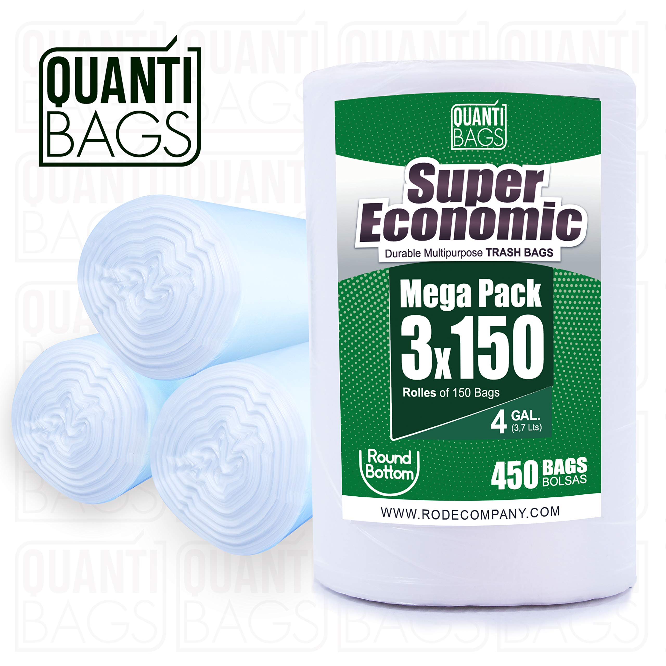 QuantiBags Trash Bags - Wastebasket Liner Bags - For Kitchen & Bathroom Bins - Gallon Capacity - Strong & Resistant Material - Extra Large 150 Count x 3 Rolls - Round Bottom Design