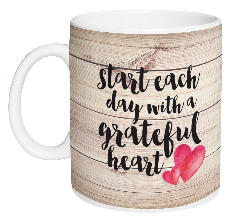 Start Each Day With a Grateful Heart Design Wood 15 Ounce Ceramic Coffee Mug