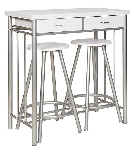 Tavolo E Sgabelli.Ts Ideen Set 3 Pezzi Tavolo E 2 Sgabelli In Alluminio E Mdf Color Bianco Per Cucina O Sala Da Pranzo