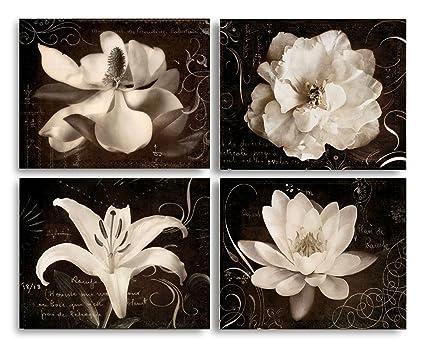 Superbe Garden Journal I Beautiful Sepia White Flowers Against A Script Backdrop;  Floral Decor; Four