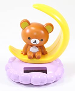 Solar Power Toy - Rilakkuma Relax Bear Sitting on the Moon Car Dashboard Gift Home Decor