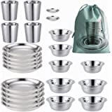 COTOM Stainless Steel Plates,Bowls,Cups and Spice Dish. Camping Set Camping, Hiking, Beach,Outdoor Use Incl. Travel Bag