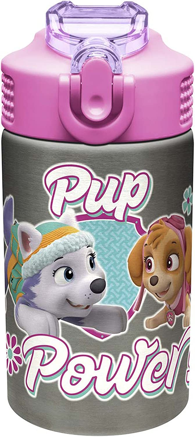 Zak Designs Paw Patrol Skye - Stainless Steel Water Bottle with One Hand Operation Action Lid and Built-in Carrying Loop, Kids Water Bottle with Straw Spout is Perfect for Kids (15.5 oz, BPA-Free)